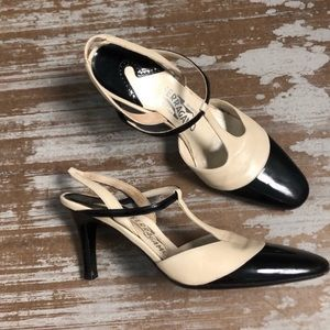 Salvatore Ferragamo Black and Cream Heels Sz 7